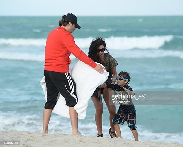 Cristian Castro Valeria Liberman and Mikhail Castro are sighted on April 6 2013 in Miami Beach Florida