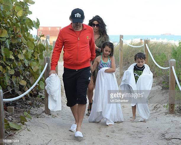 Cristian Castro Valeria Liberman Simone Castro and Mikhail Castro are sighted on April 6 2013 in Miami Beach Florida