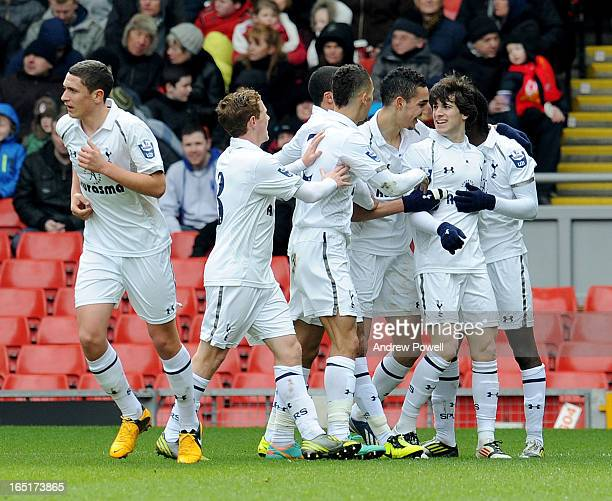 Cristian Ceballos of Tottenham Hotspur celebrates with his team mates after scoring the opening goal during the Barclays U21's Premier League match...