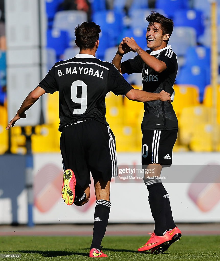 Cristian Cedres (R) of Real Madrid Academy celebrates with Borja Mayoral after scoring the opening goal during the UEFA Youth Champions League match between PFC Ludogorets Razgrad and Real Madrid at Georgi Asparuhov Stadion on October 1, 2014 in Sofia, Bulgaria.