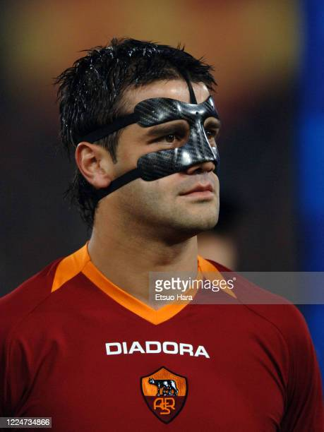 Cristian Chivu of AS Roma is seen prior to the UEFA Champions League Quarter Final first leg match between AS Roma and Manchester United at the...