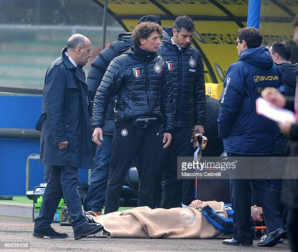Cristian Chivu of FC Inter Milan lies on a stretcher near his team's bench during the Serie A match between AC Chievo Verona and FC Inter Milan at...