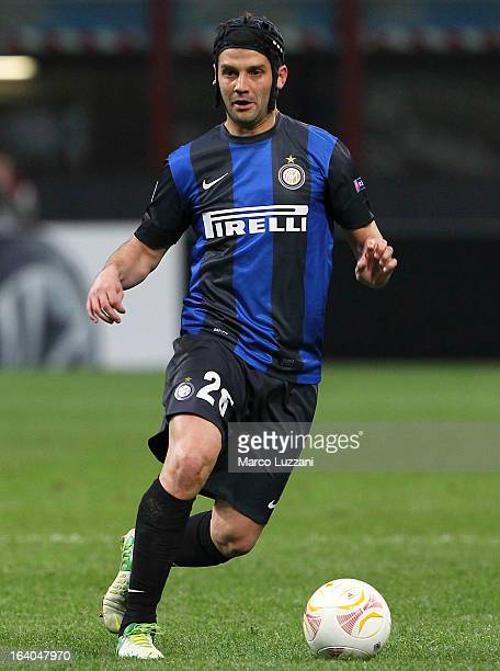 Cristian Chivu of FC Internazionale Milano in action during the UEFA Europa League Round of 16 Second Leg match between FC Internazionale Milano and...
