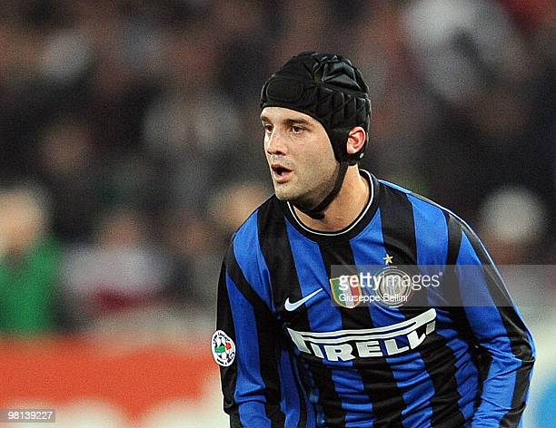 Cristian Chivu of Inter in action during the Serie A match between AS Roma and FC Internazionale Milano at Stadio Olimpico on March 27, 2010 in Rome,...