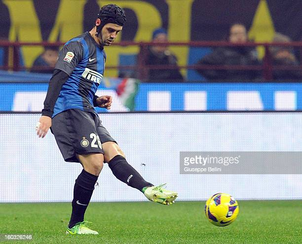 Cristian Chivu of Inter in action during the Serie A match between FC Internazionale Milano and Torino FC at San Siro Stadium on January 27, 2013 in...