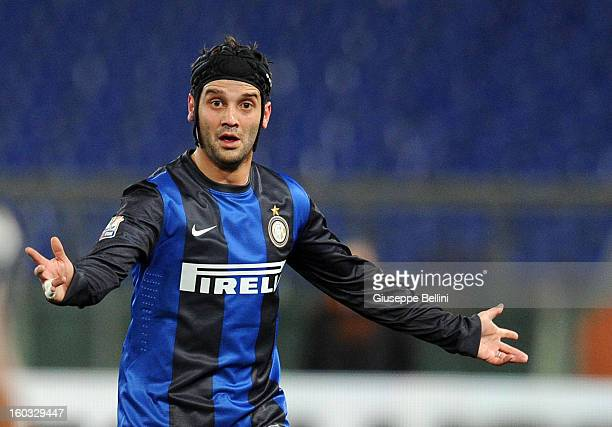 Cristian Chivu of Inter in action during the TIM cup match between AS Roma and FC Internazionale Milano at Stadio Olimpico on January 23, 2013 in...