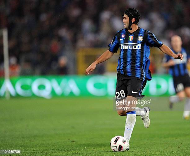 Cristian Chivu of Inter Milan in action during the Serie A match between Roma and Inter Milan at Stadio Olimpico on September 26, 2010 in Rome, Italy.