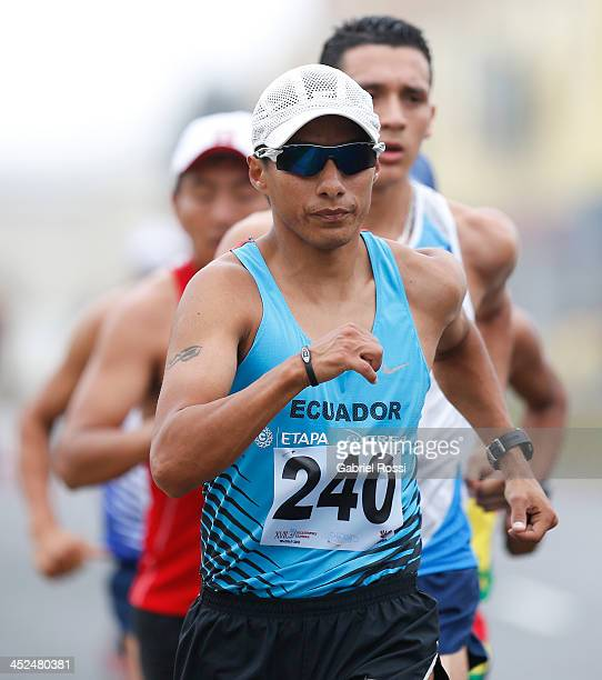 Cristian Chocho of Ecuador competes in 50k walk race as part of the XVII Bolivarian Games Trujillo 2013 at Juan Pablo Street on November 29 2013 in...