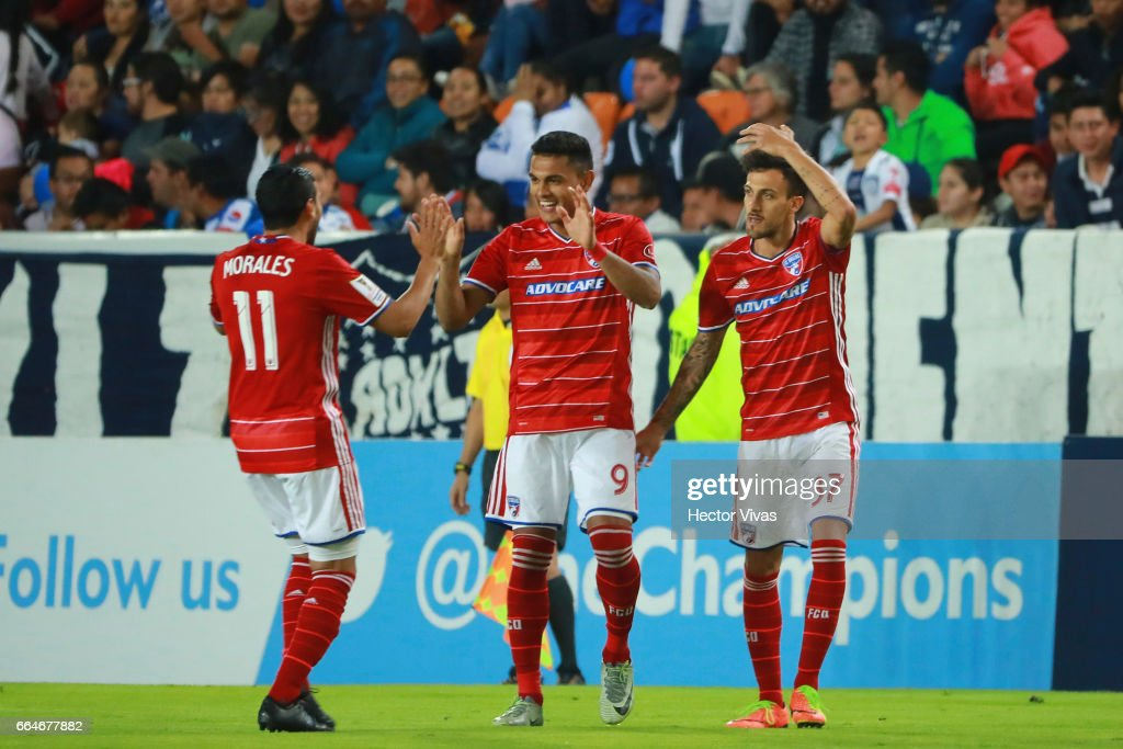 Cristian Colman of FC Dallas celebrates after scoring the first goal of his team during the semifinals second leg match between Pachuca and FC Dallas as part of the CONCACAF Champions League 2017 at Hidalgo Stadium on April 04, 2017 in Pachuca, Mexico.