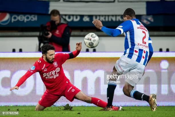 Cristian Cuevas of FC Twente Denzel Dumfries of sc Heerenveen during the Dutch Eredivisie match between sc Heerenveen and FC Twente Enschede at Abe...