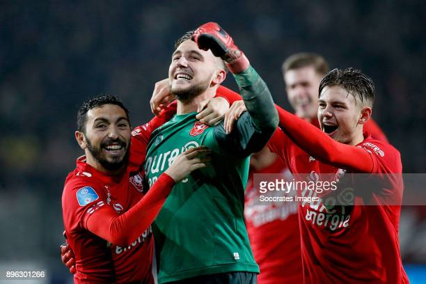 Cristian Cuevas of FC Twente, Joel Drommel of FC Twente, Alexander Laukart of FC Twente celebrates the victory during the Dutch KNVB Beker match...