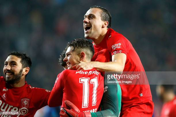 Cristian Cuevas of FC Twente Joel Drommel of FC Twente Alexander Laukart of FC Twente Michael Liendl of FC Twente celebrates the victory during the...