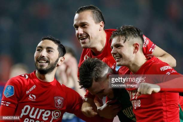 Cristian Cuevas of FC Twente Michael Liendl of FC Twente Joel Drommel of FC Twente Alexander Laukart of FC Twente celebrates the victory during the...