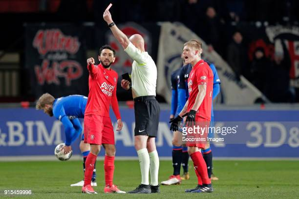 Cristian Cuevas of FC Twente receives a red card from referee Siemen Mulder during the Dutch Eredivisie match between Fc Twente v AZ Alkmaar at the...