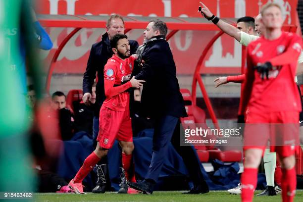 Cristian Cuevas of FC Twente receives a red card from referee Siemen Mulder during the Dutch Eredivisie match between Fc Twente v AZ Alkmaar at the...