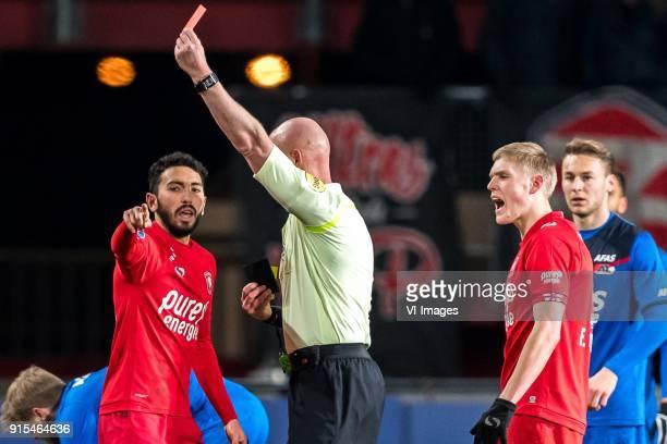 Cristian Cuevas of FC Twente referee Siemen Mulder during the Dutch Eredivisie match between FC Twente Enschede and AZ Alkmaar at the Grolsch Veste...