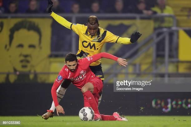 Cristian Cuevas of FC Twente Thierry Ambrose of NAC Breda during the Dutch Eredivisie match between NAC Breda v Fc Twente at the Rat Verlegh Stadium...