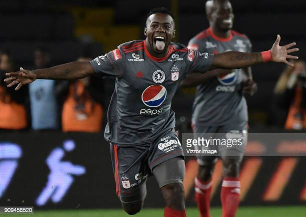 Cristian Dajome of America de Cali celebrates after scoring the second goal of his team during the match between America de Cali and Deportivo Cali...