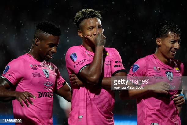 Cristian Dajome of Independiente celebrates after scoring the the second goal of his team during the final of Copa CONMEBOL Sudamericana 2019 between...