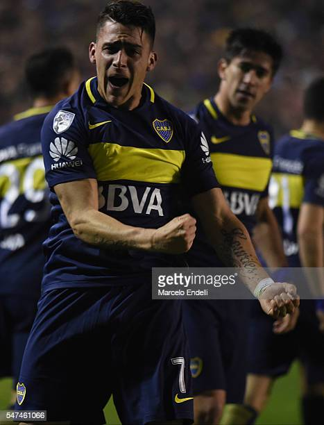 Cristian David Pavon of Boca Juniors celebrates after scoring the first goal of his team during a second leg match between Boca Juniors and...