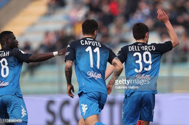 Cristian Dell'Orco of Empoli FC celebrates after scoring a goal during the Serie A match between Empoli and Parma Calcio at Stadio Carlo Castellani...