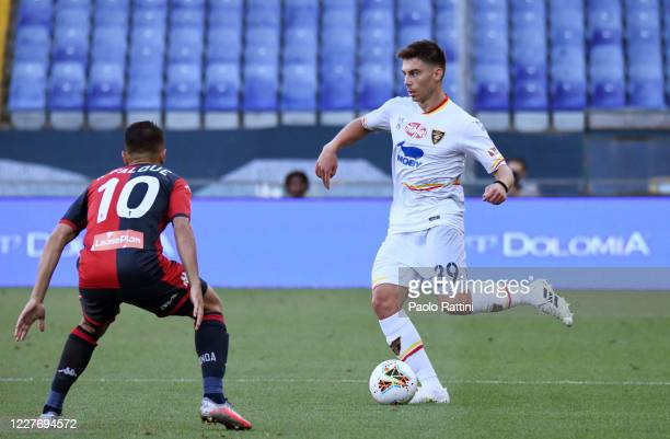 Cristian Dell'Orco of US Lecce in action during the Serie A match between Genoa CFC and US Lecce at Stadio Luigi Ferraris on July 19, 2020 in Genoa,...