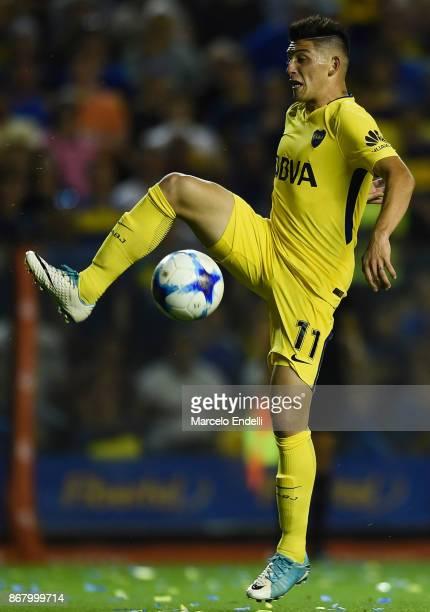 Cristian Espinoza of Boca Juniors controls the ball during a match between Boca Juniors and Belgrano as part of Superliga 2017/18 at Alberto J...
