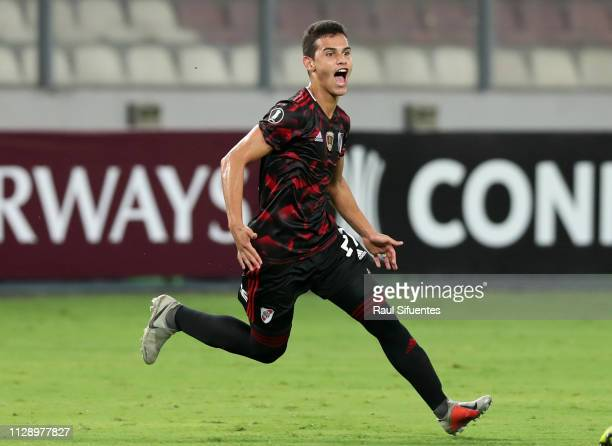 Cristian Ferreira of River Plate celebrates after scoring the euqalizer during a group A match between Alianza Lima and River Plate as part of Copa...