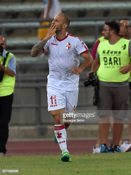 Cristian Galano of AS Bari celebrates after scoring goal 21 during the TIM Cup match between AS Bari and Parma Calcio at Stadio San Nicola on August...