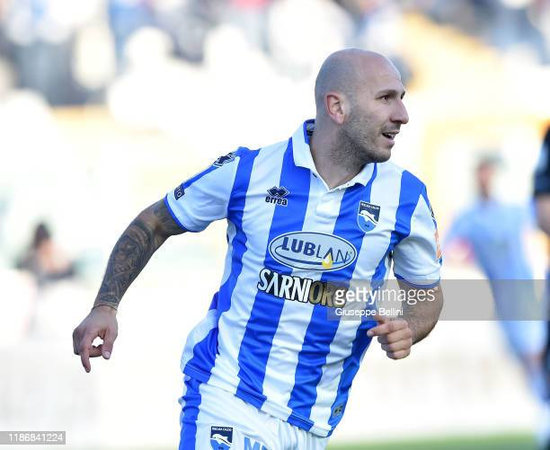 Cristian Galano of Pescara Calcio celebrates after scoring opening goal during the Serie B match between Pescara Calcio and Venezia FC at Adriatico...