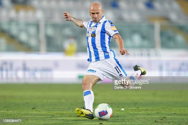 Cristian Galano of Pescara Calcio in action during the serie B Play-Out first leg match between Pescara Calcio and AC Perugia at Adriatico Stadium on...