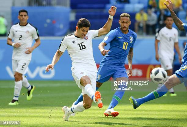 Cristian Gamboa of Costa Rica, Neymar Jr of Brazil during the 2018 FIFA World Cup Russia group E match between Brazil and Costa Rica at Saint...