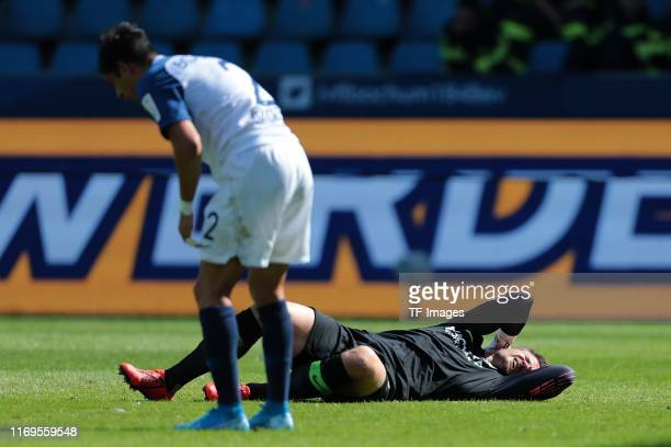 Cristian Gamboa of VfL Bochum and Manuel Riemann of VfL Bochum injured during the Second Bundesliga match between VfL Bochum 1848 and SG Dynamo...