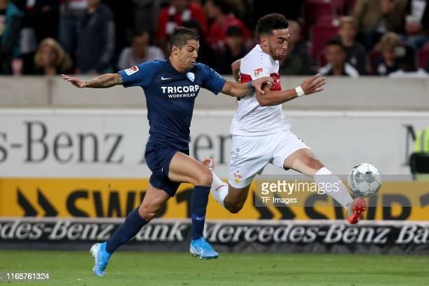 Cristian Gamboa of VfL Bochum and Nicolas Gonzalez of VfB Stuttgart battle for the ball during the Second Bundesliga match between VfB Stuttgart and...