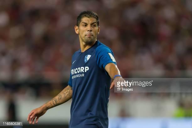 Cristian Gamboa of VfL Bochum gestures during the Second Bundesliga match between VfB Stuttgart and VfL Bochum 1848 at Mercedes-Benz Arena on...