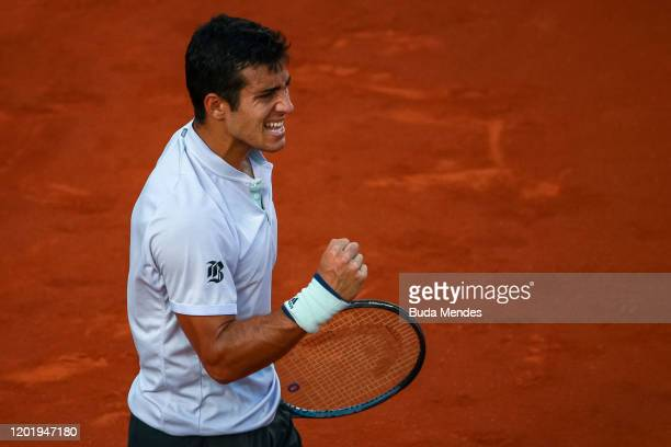 Cristian Garin of Chile celebrates a point during a match against Federico Delbonis of Argentina as part of ATP Rio Open 2020 at Jockey Club...