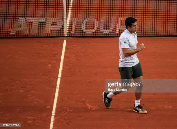 Cristian Garin of Chile celebrates the victory after the men's singles final match of the ATP Rio Open 2020 at Jockey Club Brasileiro on February 23...