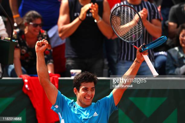 Cristian Garin of Chile celebrates victory during his mens singles first round match against Reilly Opelka of The United States during Day two of the...