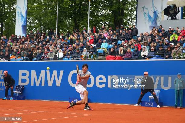 Cristian Garin of Chile plays a back hand during his final match against Matteao Berrettini of Italy on day 9 of the BMW Open at MTTC IPHITOS on May...