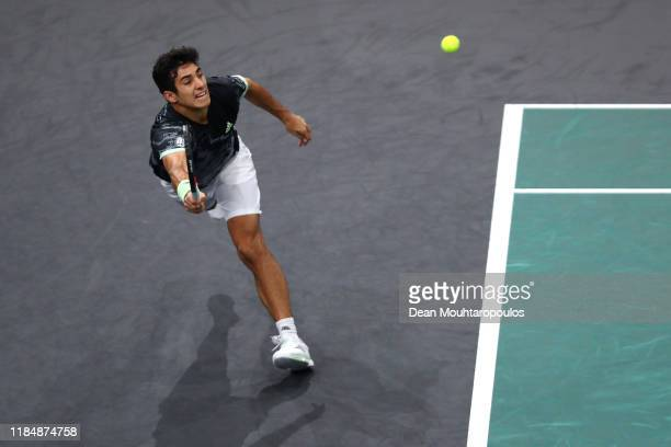 Cristian Garin of Chile returns a forehand in his match against Grigor Dimitrov of Bulgaria on day 5 of the Rolex Paris Masters, part of the ATP...