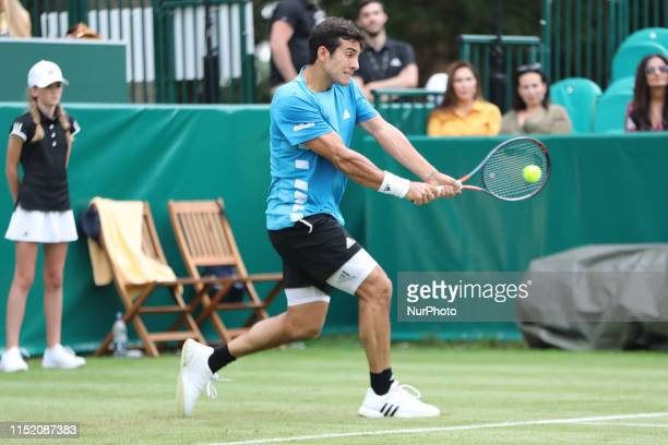 Cristian Garin on the backhand during the Boodles Tennis Challenge at Stoke Park Stoke Poges on Tuesday 25th June 2019