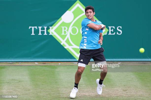 Cristian Garin plays a forehand during the Boodles Tennis Challenge at Stoke Park Stoke Poges on Tuesday 25th June 2019