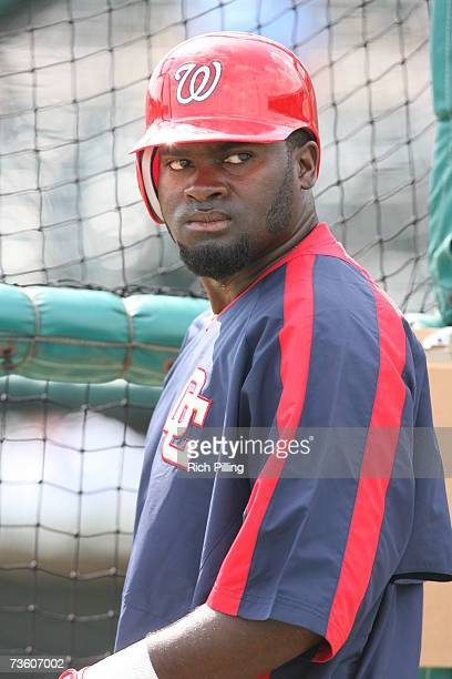 Cristian Guzman of the Washington Nationals looks on prior to the game against the St Louis Cardinals at Roger Dean Stadium in Jupiter Florida on...