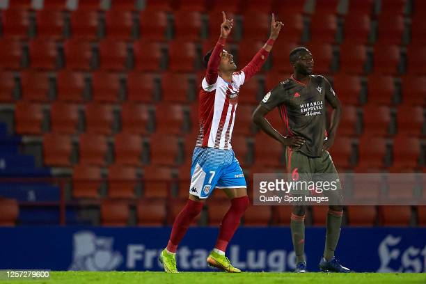 Cristian Herrera of CD Lugo celebrates his team's second goal during the La Liga Smartbank match between CD Lugo and CD Mirandes at Estadio Angel...