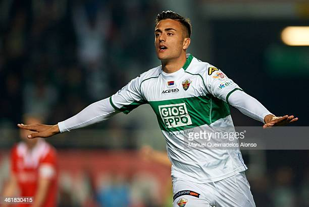 Cristian Herrera of Elche celebrates after scoring during the La Liga match between Elche FC and Sevilla FC at Manuel Martinez Valero on January 11...