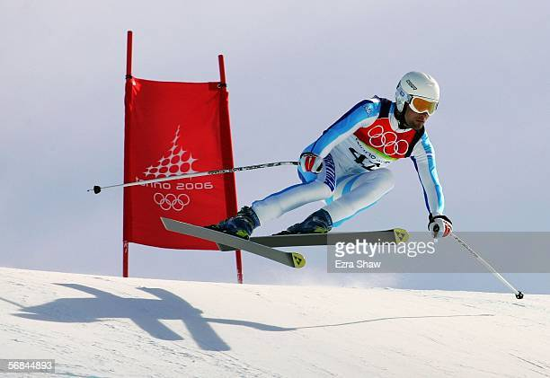 Cristian Javier Simari Birkner of Argentina competes in the Downhill section of the Mens Combined Alpine Skiing competition on Day 4 of the 2006...