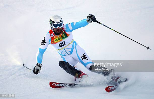 Cristian Javier Simari Birkner of Argentina in action during the slalom section of the Men's Super Combined at the FIS Skiing World Cup on December...