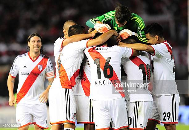 Cristian Ledesma and his teammates celebrate after scoring the fourth goal of his team during a match between River Plate and Quilmes as part of 19th...