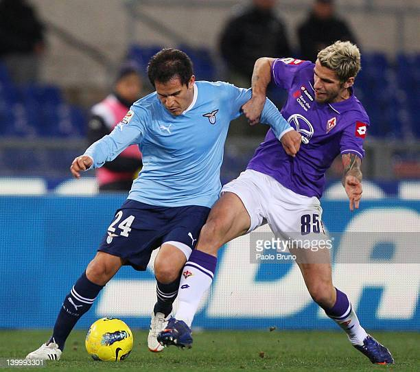Cristian Ledesma of SS Lazio competes for the ball with Valon Behrami of ACF Fiorentina during the Serie A match between SS Lazio and ACF Fiorentina...
