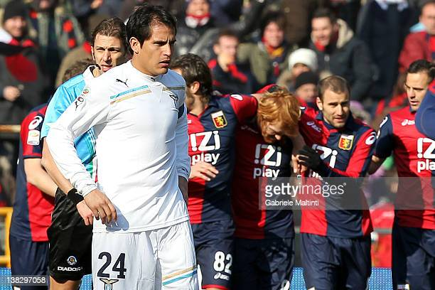 Cristian Ledesma of SS Lazio during the Serie A match between Genoa CFC and SS Lazio at Stadio Luigi Ferraris on February 5 2012 in Genoa Italy